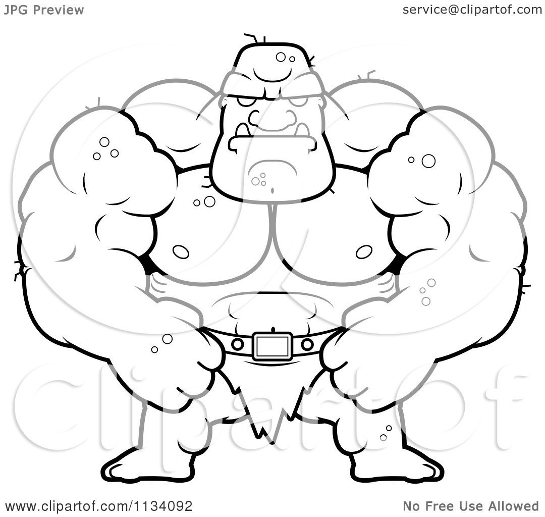 cartoon clipart of an outlined tough buff ogre black and white vector coloring page by cory thoman