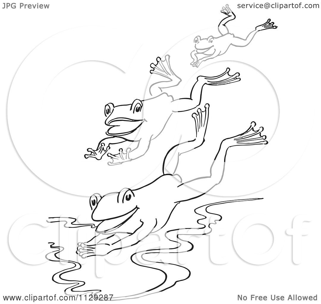 cartoon clipart of an outlined trio of frogs jumping into a pond