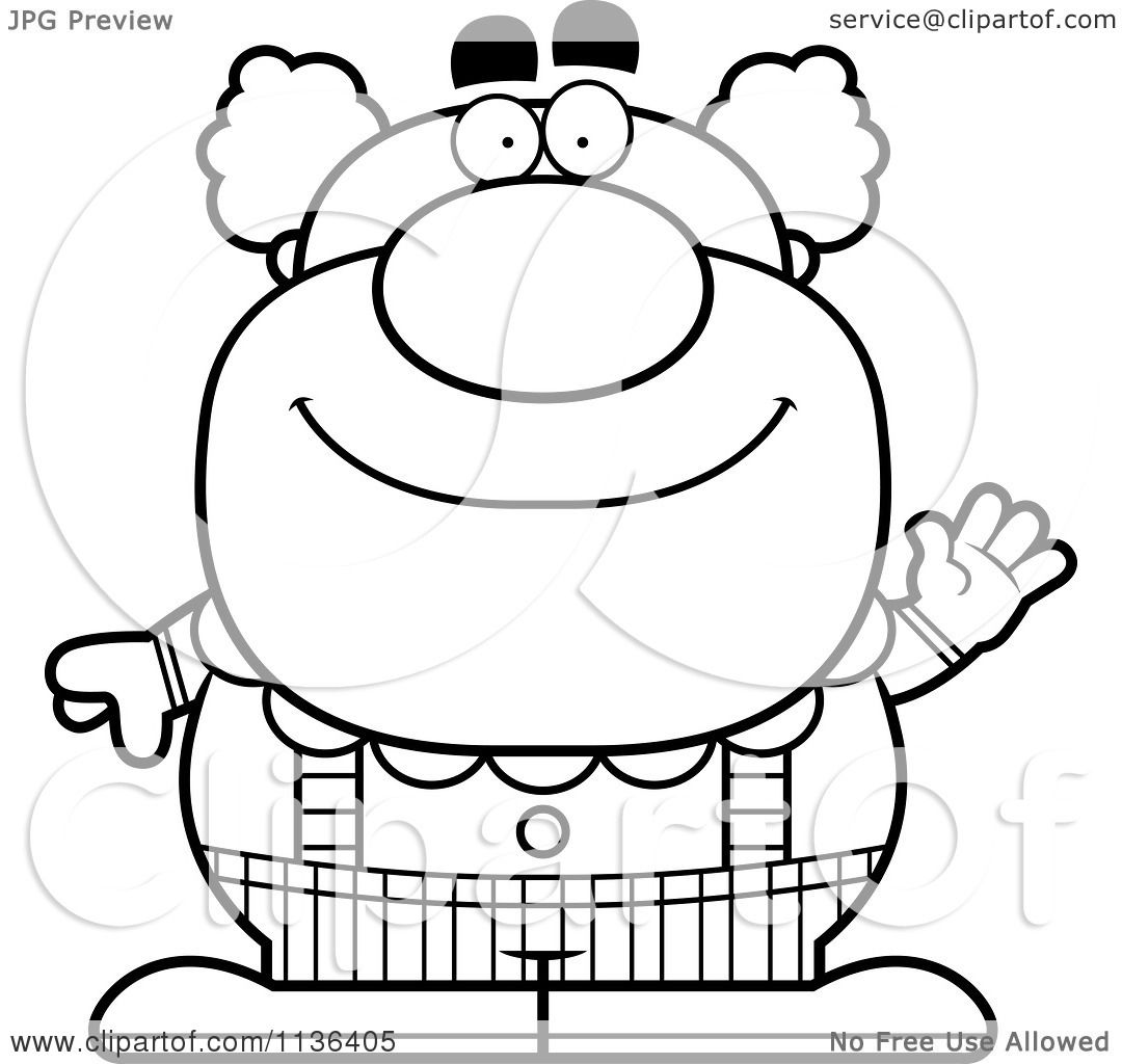 Cartoon Clipart Of An Outlined Waving Pudgy Circus Clown - Black And ...