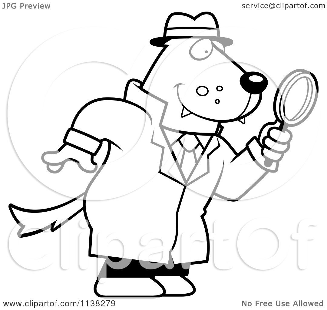 Cartoon Clipart Of An Outlined Wolf Detective Using A Magnifying Glass