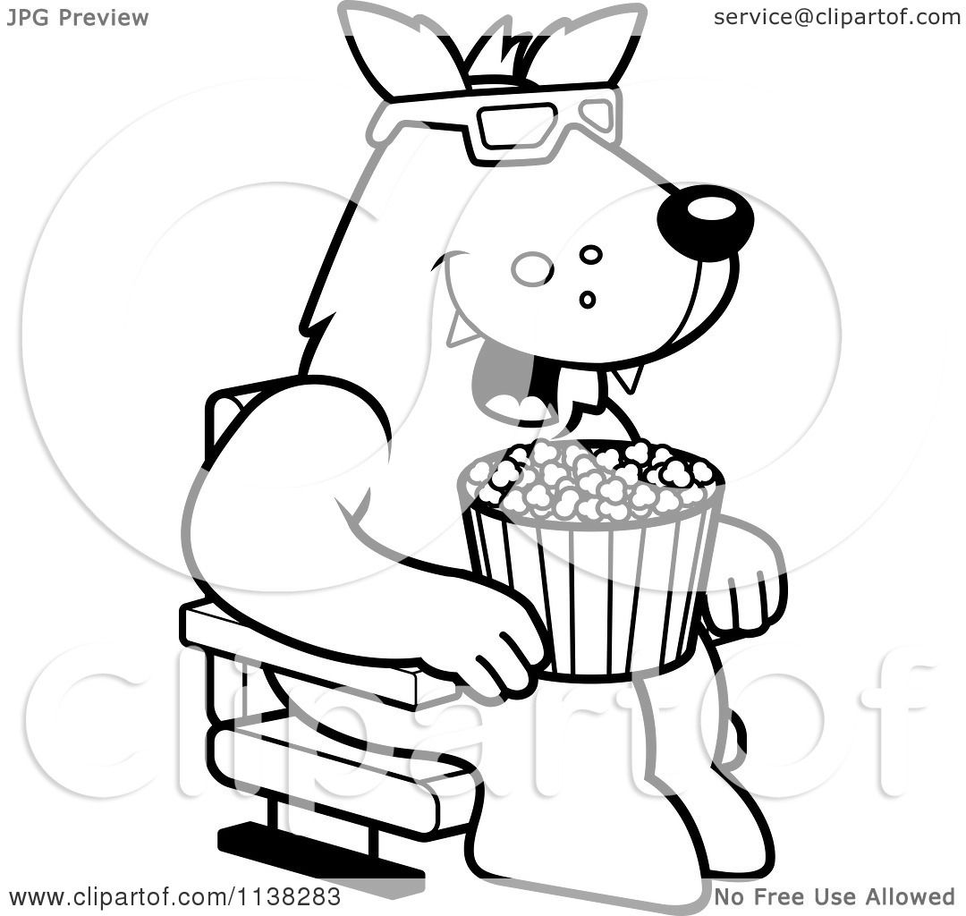 cartoon clipart of an outlined wolf eating popcorn and watching a 3d movie at the theater