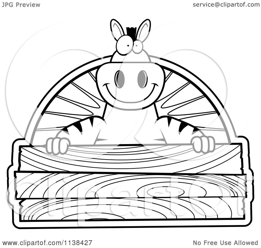 cartoon clipart of an outlined zebra holding a wood sign black