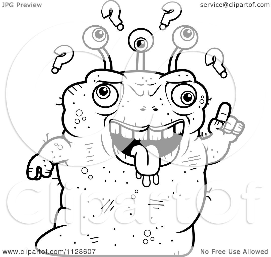 cartoon alien coloring pages - cartoon clipart of an ugly dumb alien black and white