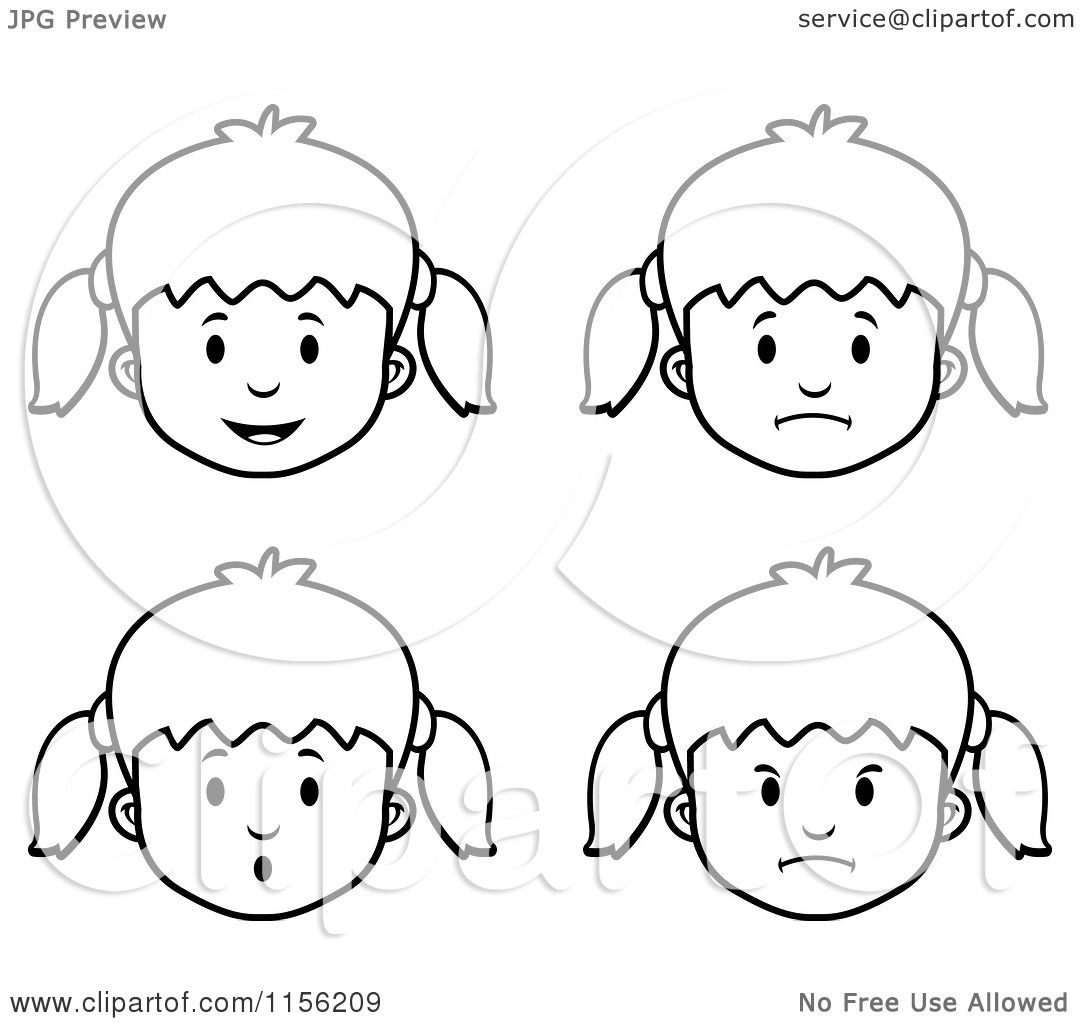 coloring pages of girls faces - cartoon clipart of black and white girl faces vector