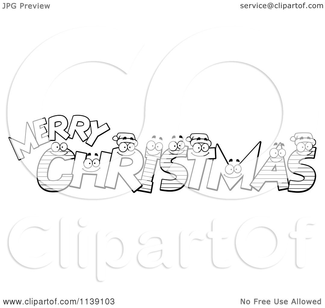 Coloring pictures merry christmas - Cartoon Clipart Of Black And White Happy Festive Letters Spelling Merry Christmas Vector Outlined Coloring Page By Cory Thoman