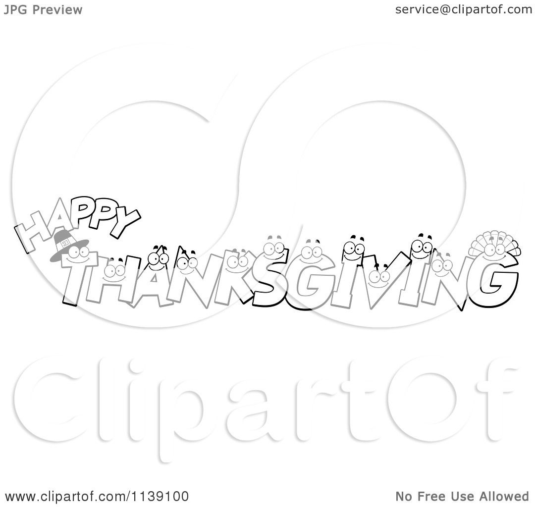 Cartoon Clipart Of Black And White Happy Thanksgiving