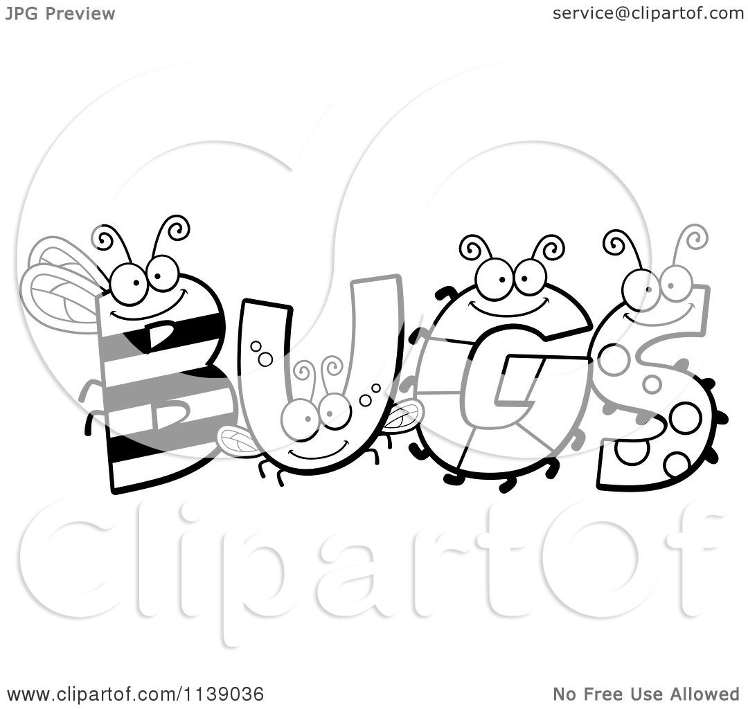 cartoon clipart of black and white insect letters spelling bugs