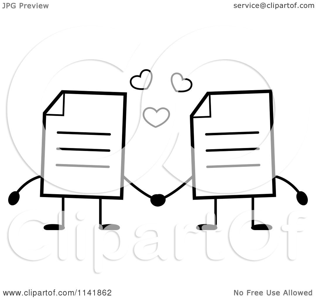 cartoon clipart of black and white note document mascots holding hands vector outlined coloring page by cory thoman