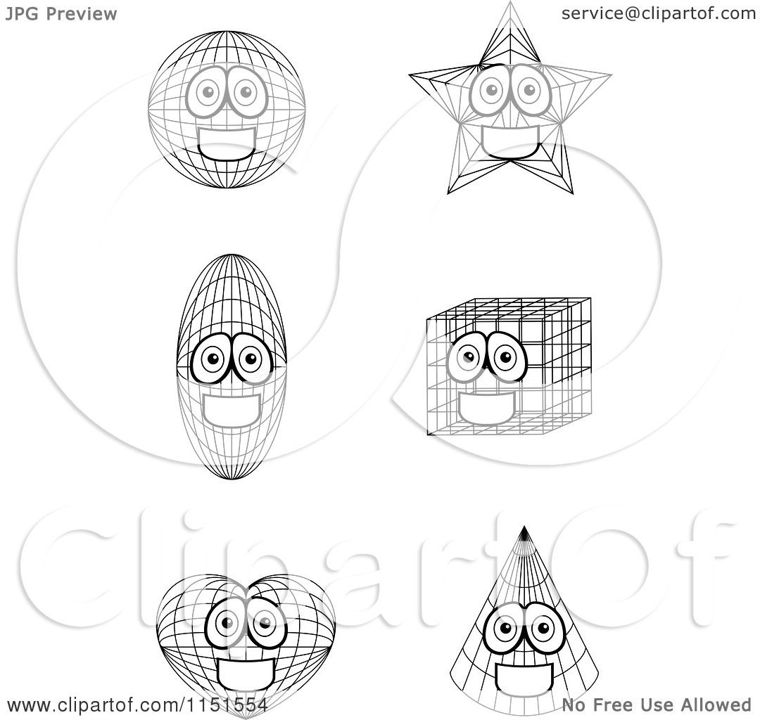 cartoon clipart of black and white shape mascots vector outlined