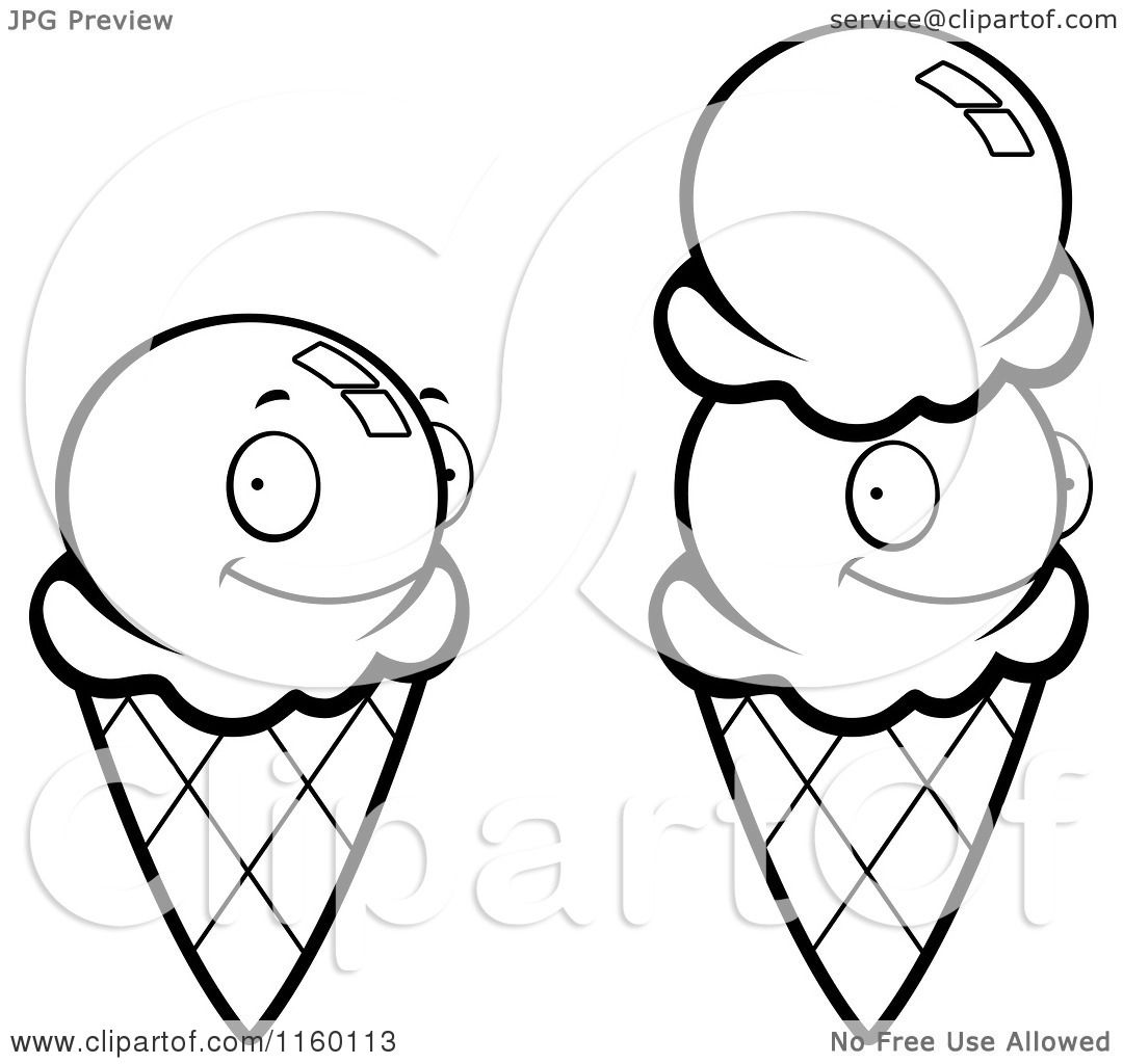cartoon clipart of black and white waffle ice cream cones vector outlined coloring page by cory thoman