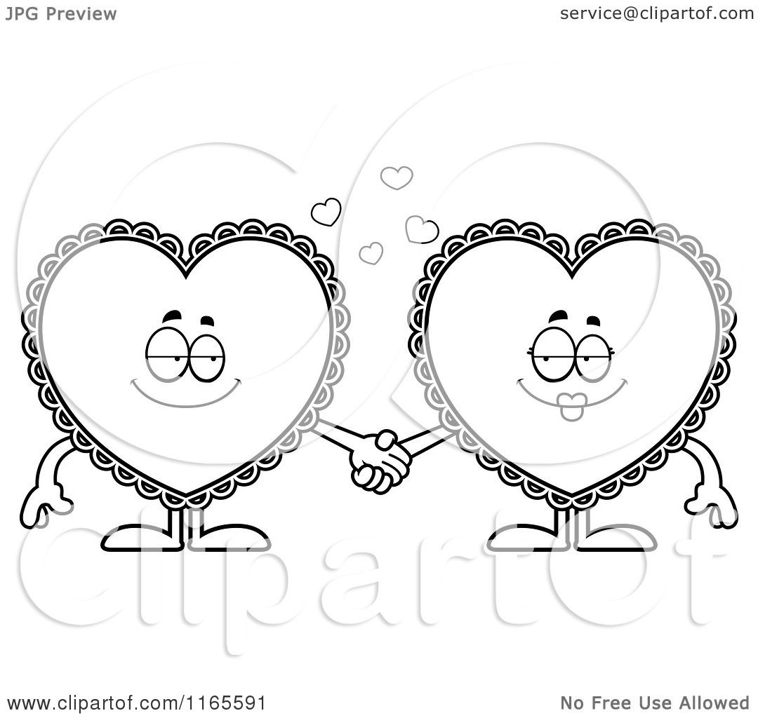 cartoon clipart of doily hearts holding hands vector outlined coloring page by cory thoman