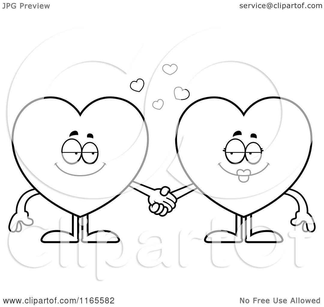 cartoon clipart of heart card suit mascots holding hands vector outlined coloring page by cory thoman