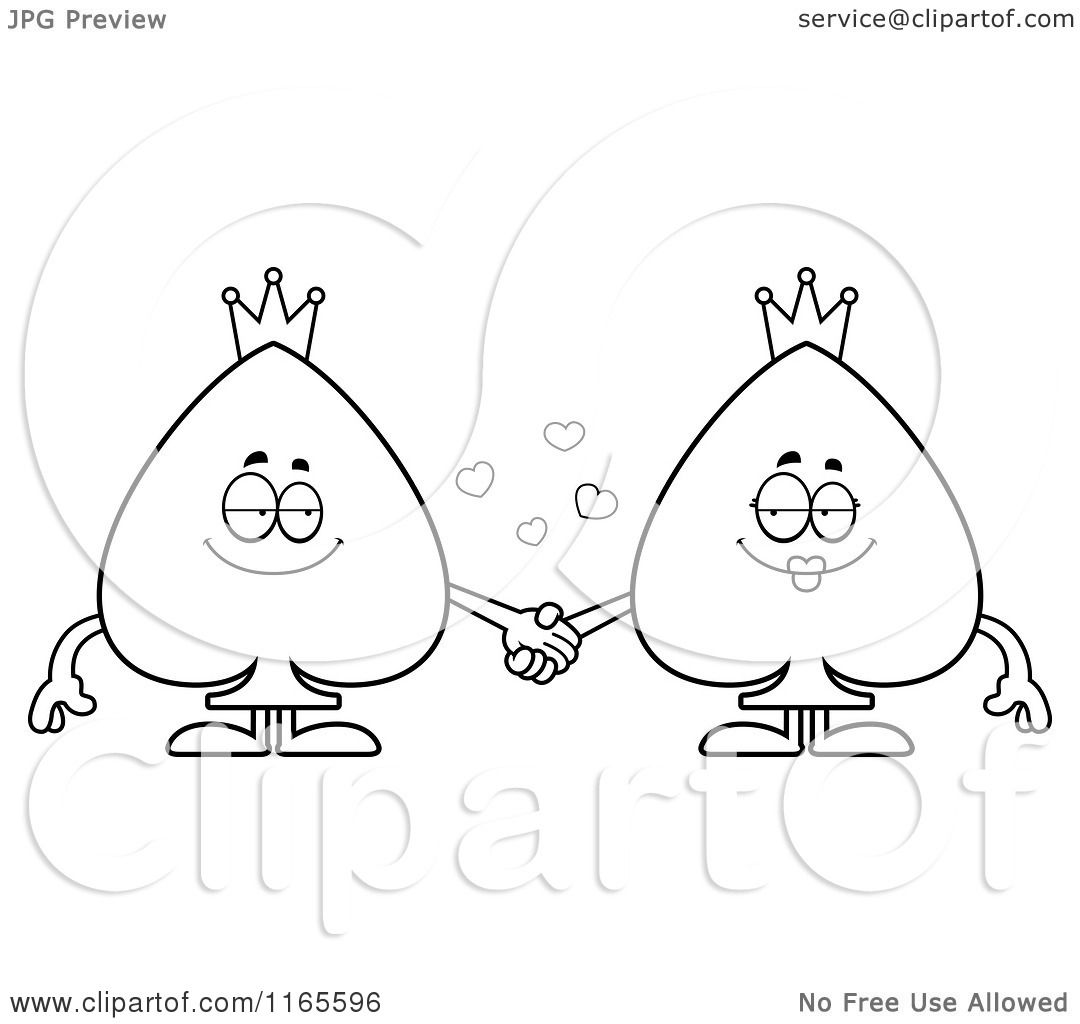 cartoon clipart of spade couple card suit mascots holding hands vector outlined coloring page by cory thoman