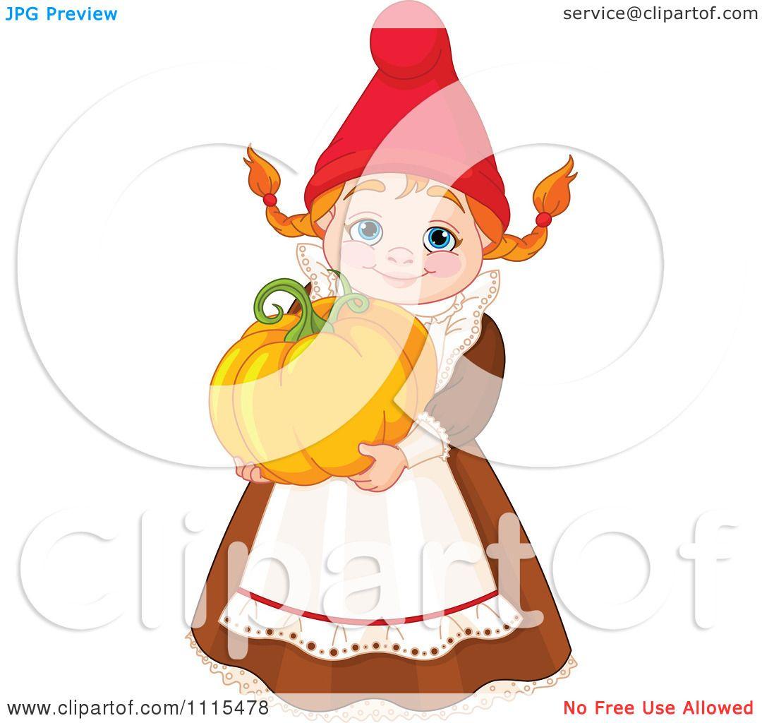 Garden Cute Cartoon: Cartoon Cute Female Garden Gnome Carrying A Pumpkin