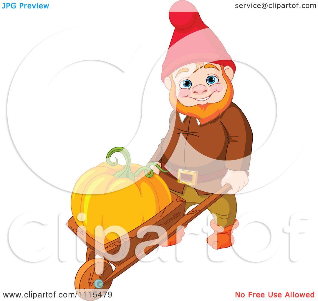 Garden Cute Cartoon: Cartoon Cute Male Garden Gnome Puahing A Pumpkin In A