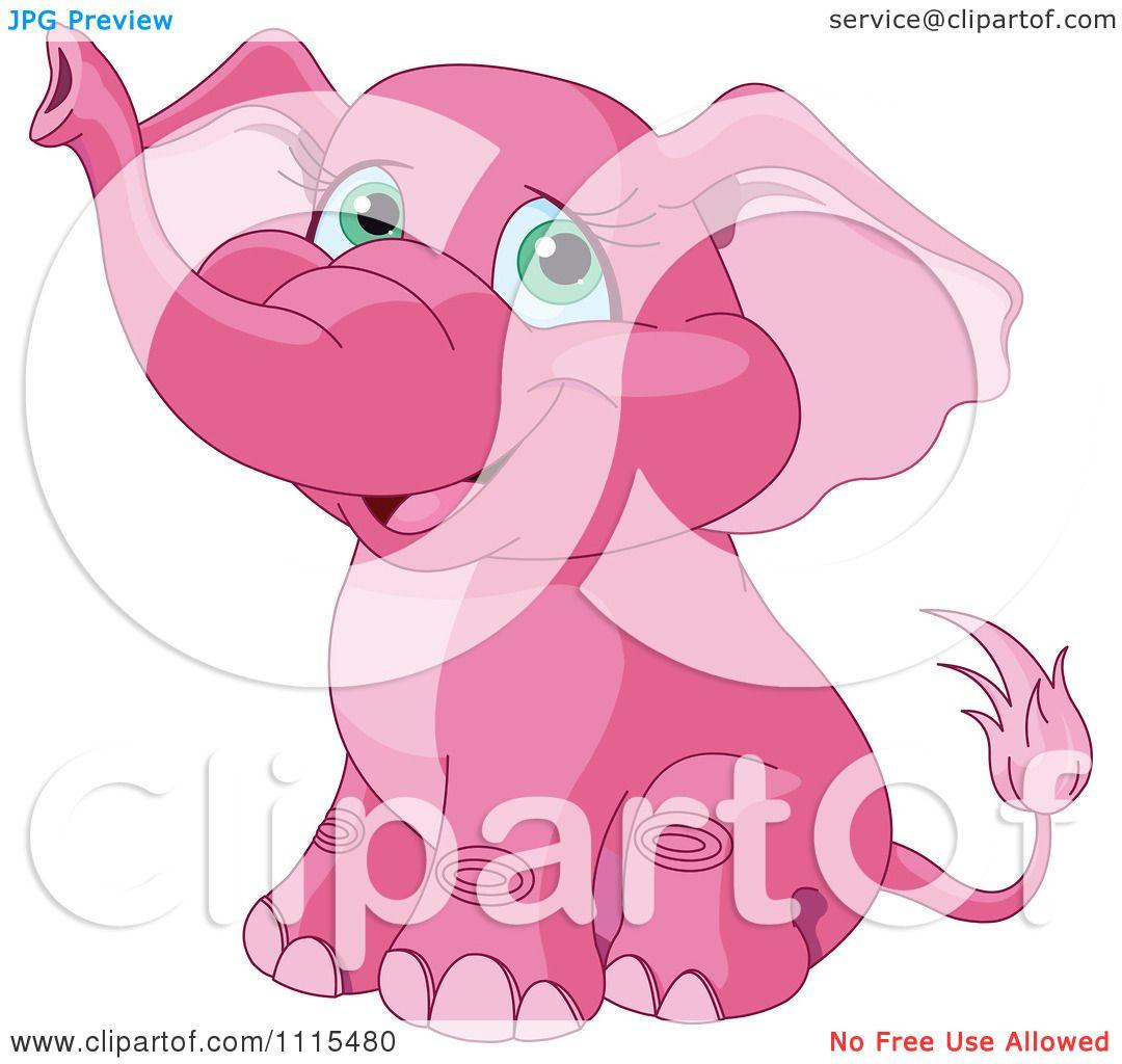Cute pink elephant cartoon - photo#8