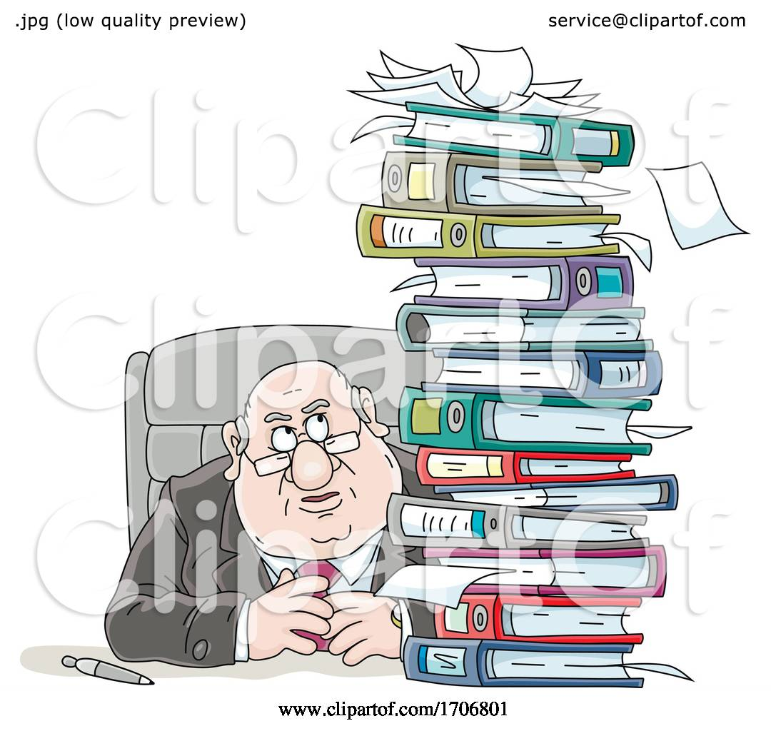Cartoon Fat Politician With A Stack Of Binders By Alex