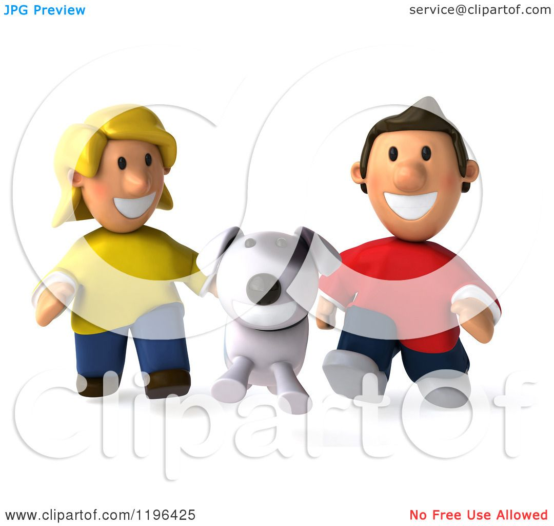 Cartoon Of A 3d Happy Couple Or Children Running After
