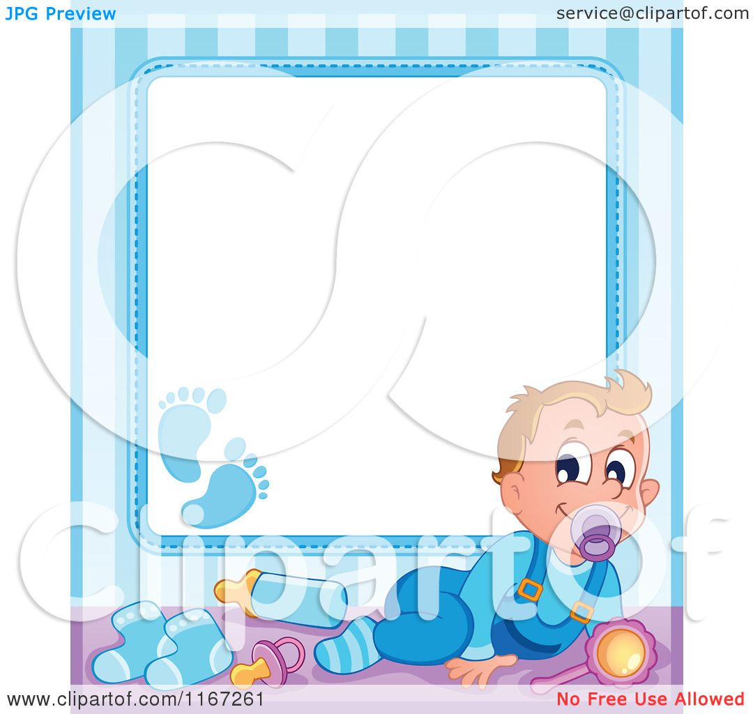Cartoon  Of A Baby  Boy  Border  With  Copyspace  Royalty  Free  Vector  Clipart