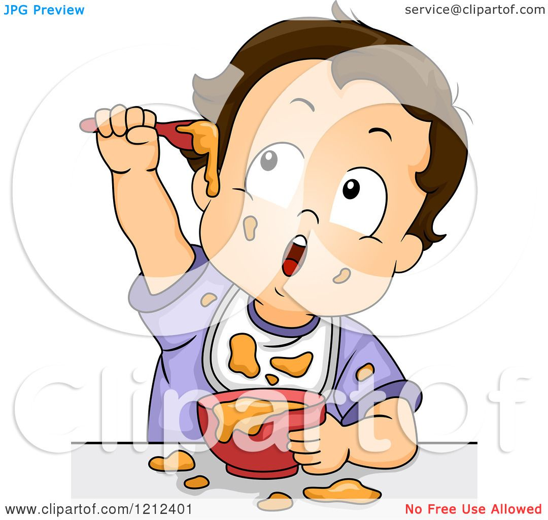 Cartoon of a Baby Boy Making a Mess with His Food - Royalty Free ...