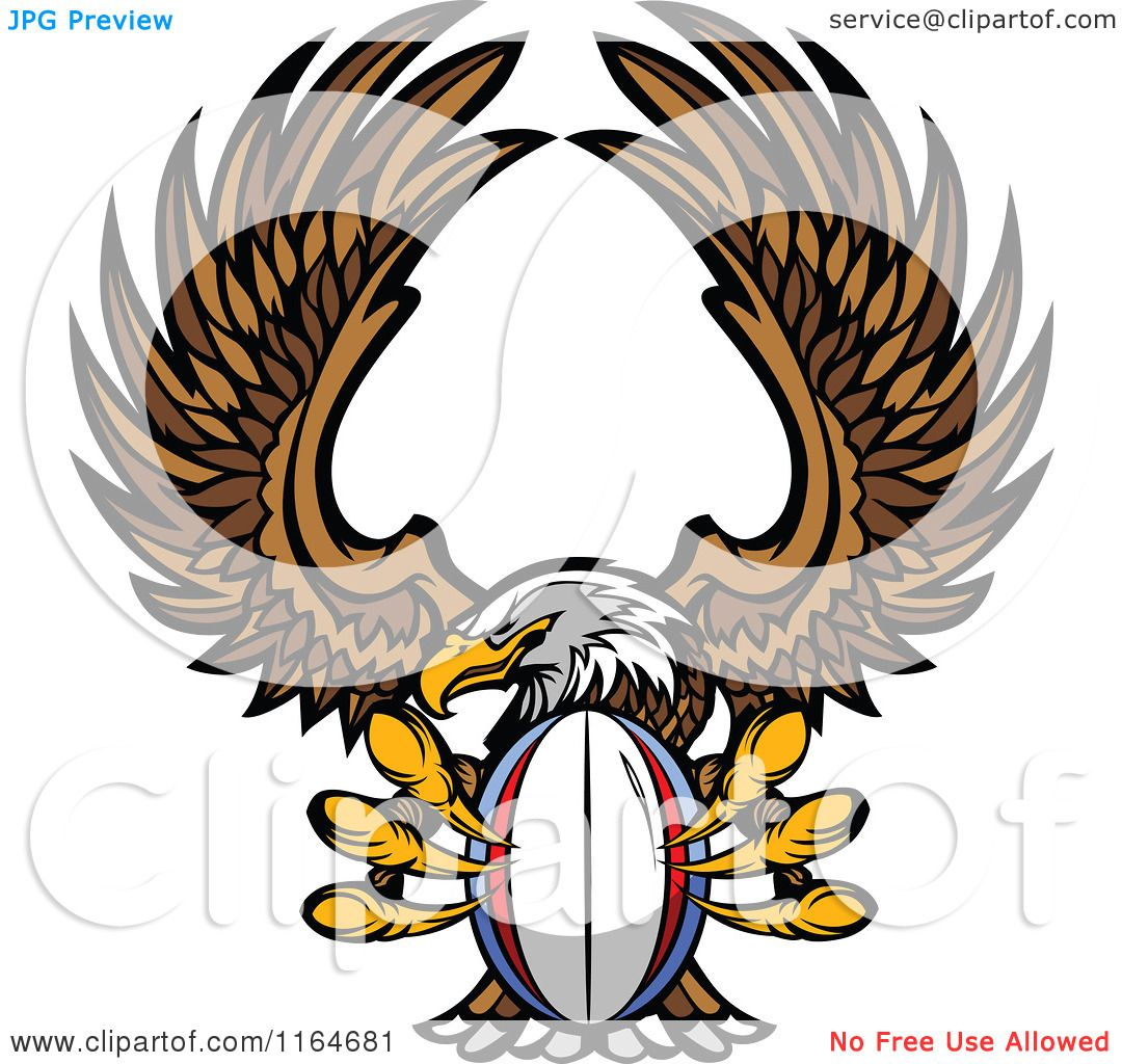 Cartoon of a Bald Eagle Flying with a Rugby Ball in Its Talons ...