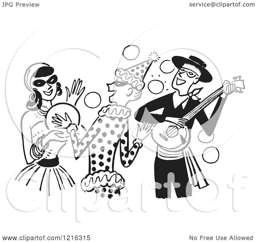 Cartoon of a Banjo Player Gypsy and Clown Having Fun at a ...