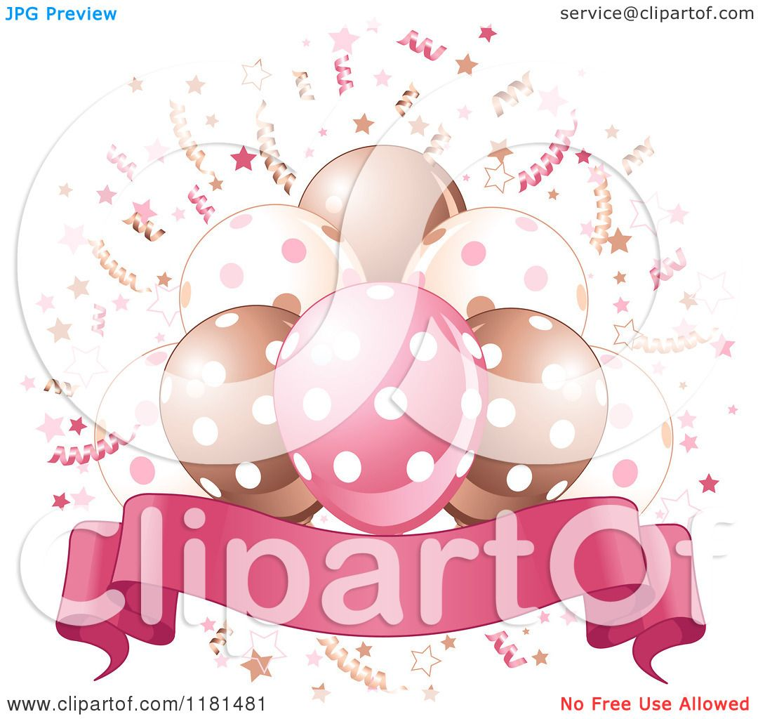 Cartoon Of A Banner Under Pink Brown And White Party