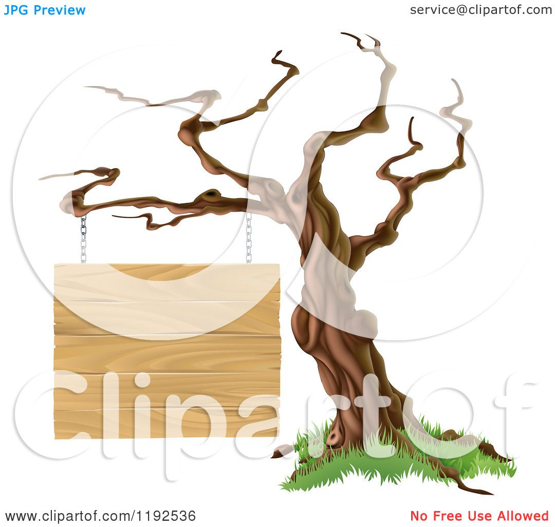Cartoon of a Bare Tree with a Wooden Sign Suspended from a ...