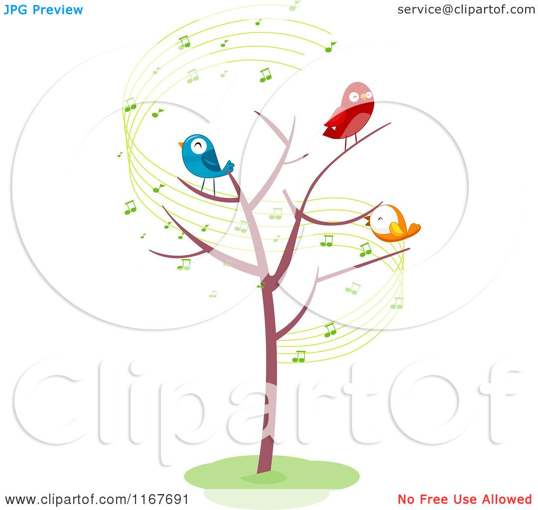 Cartoon of a bare tree with singing birds and music notes royalty