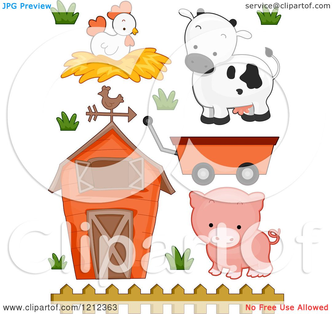 cartoon of a barn chicken cow pig and wagon royalty free vector