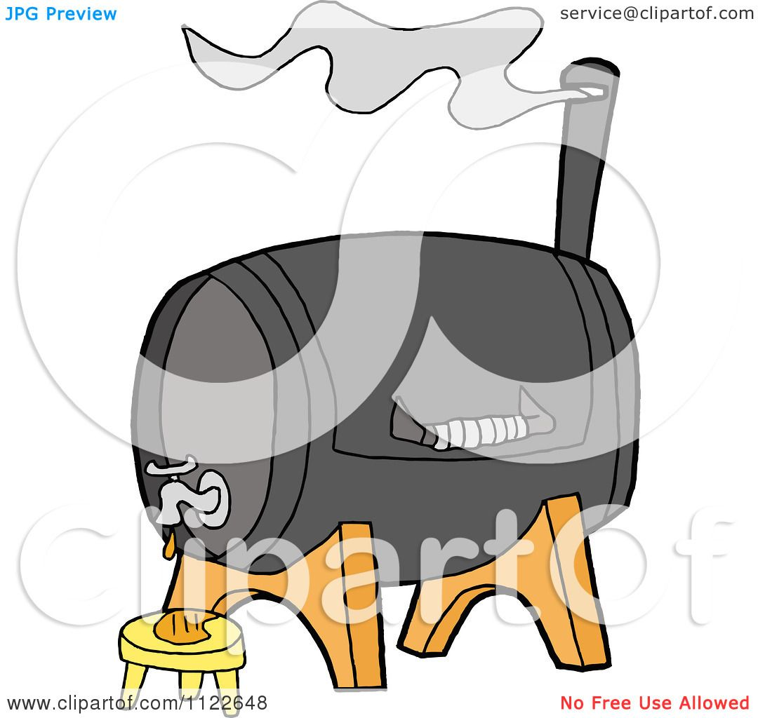 Bbq Grill Cartoon Cartoon of a bbq smoker grill