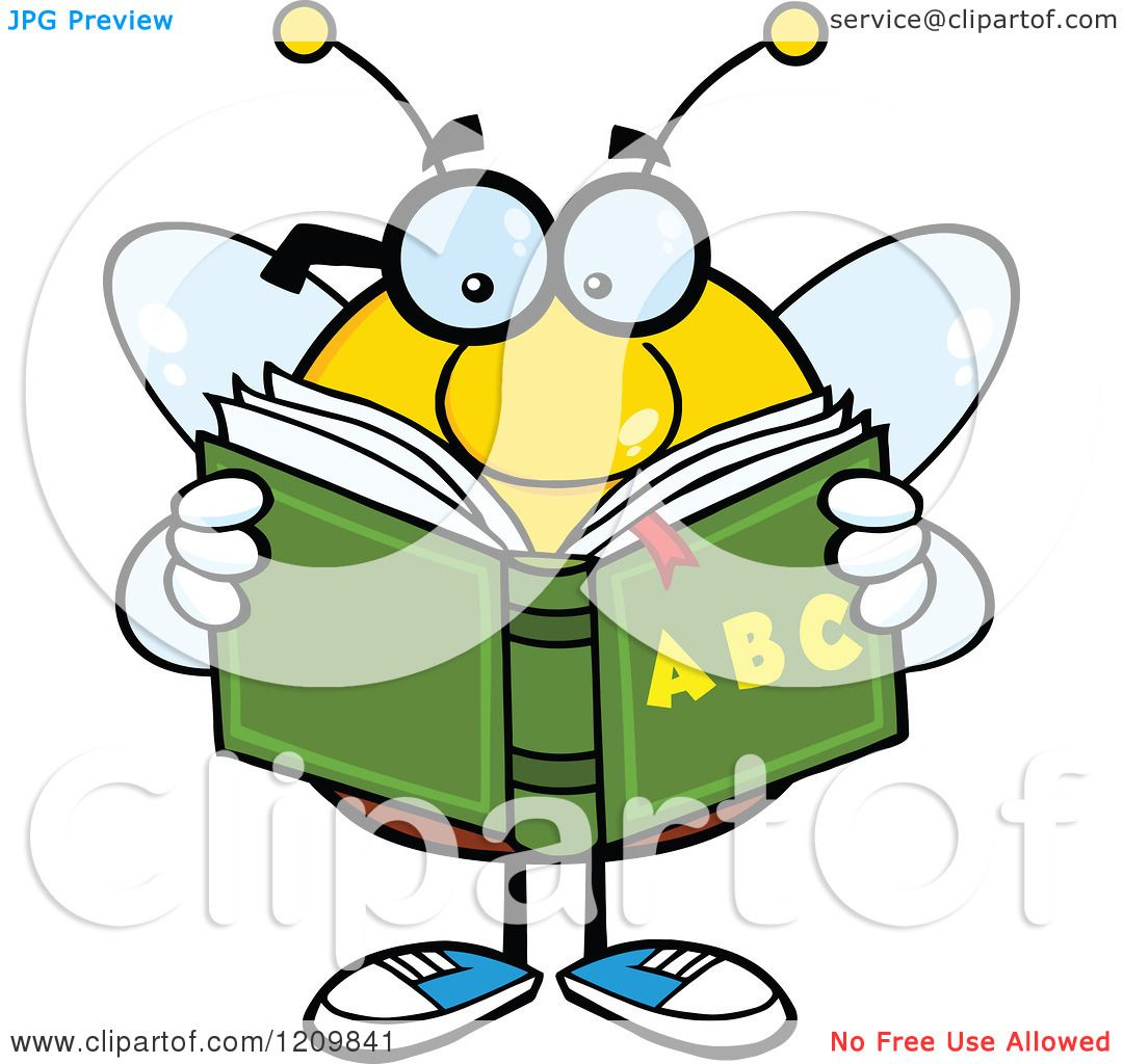 Cartoon Of A Bee Student Reading An Alphabet Book Royalty Free