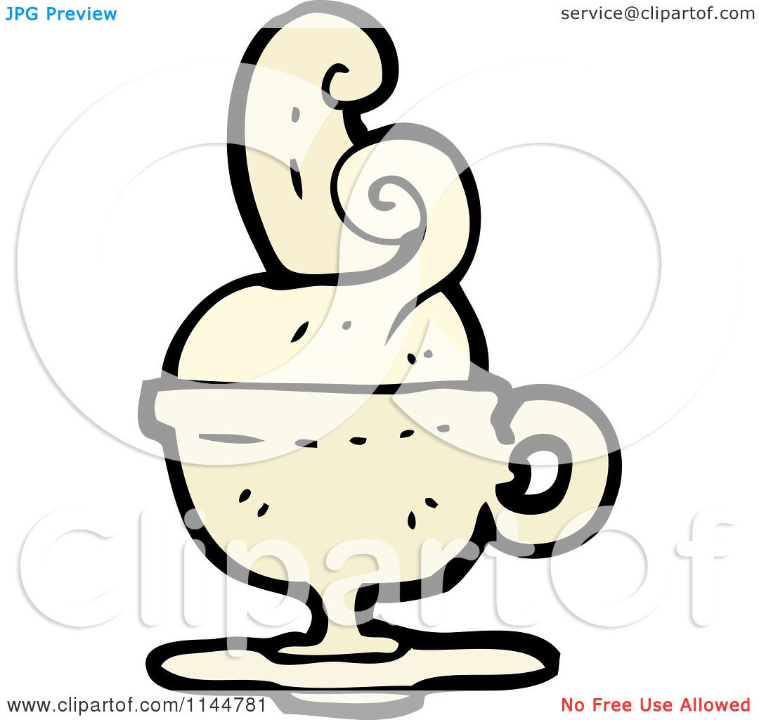 Cartoon Of A Beige Coffee Mug With Steam 2
