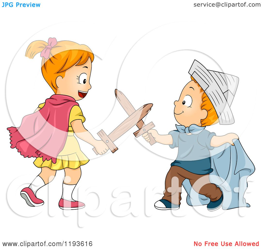 Cartoon Of A Big Sister And Little Brother Playing Swords In Costumes