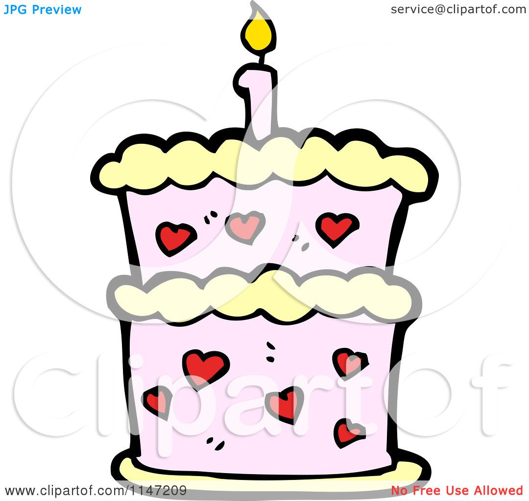 Cartoon Of A Birthday Cake With Candles Royalty Free