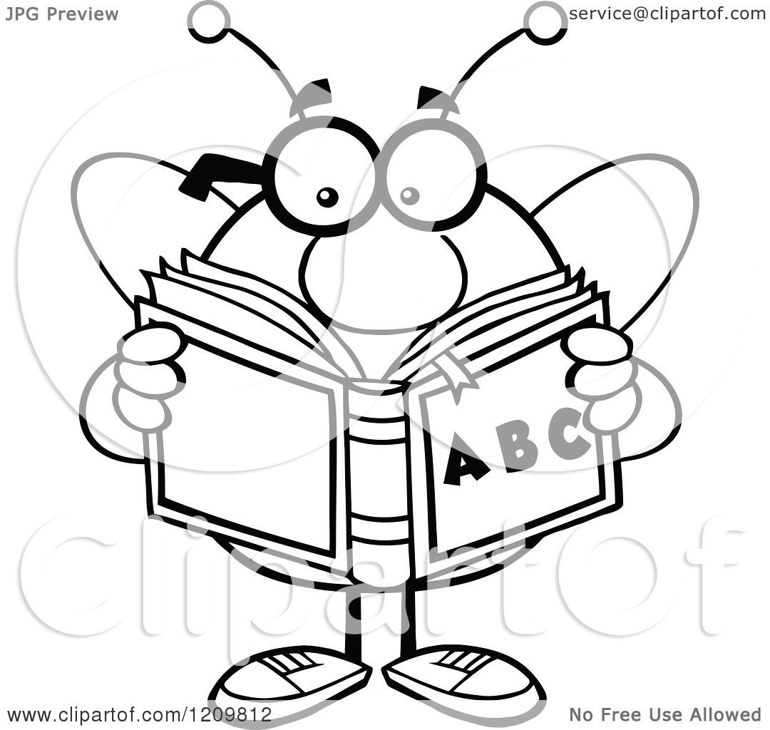 cartoon of a black and white bee student reading an
