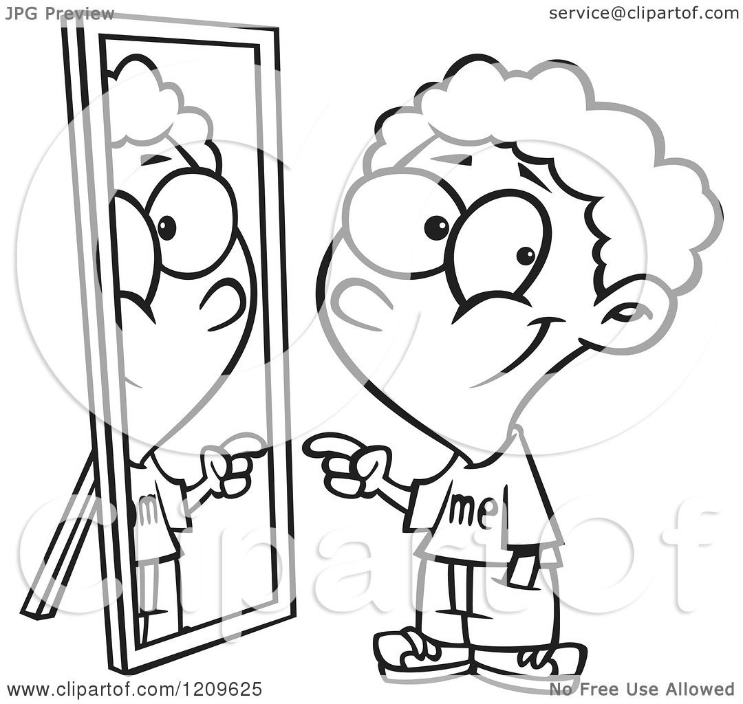 Of A Black And White Boy Pointing To His Reflection In The Mirror