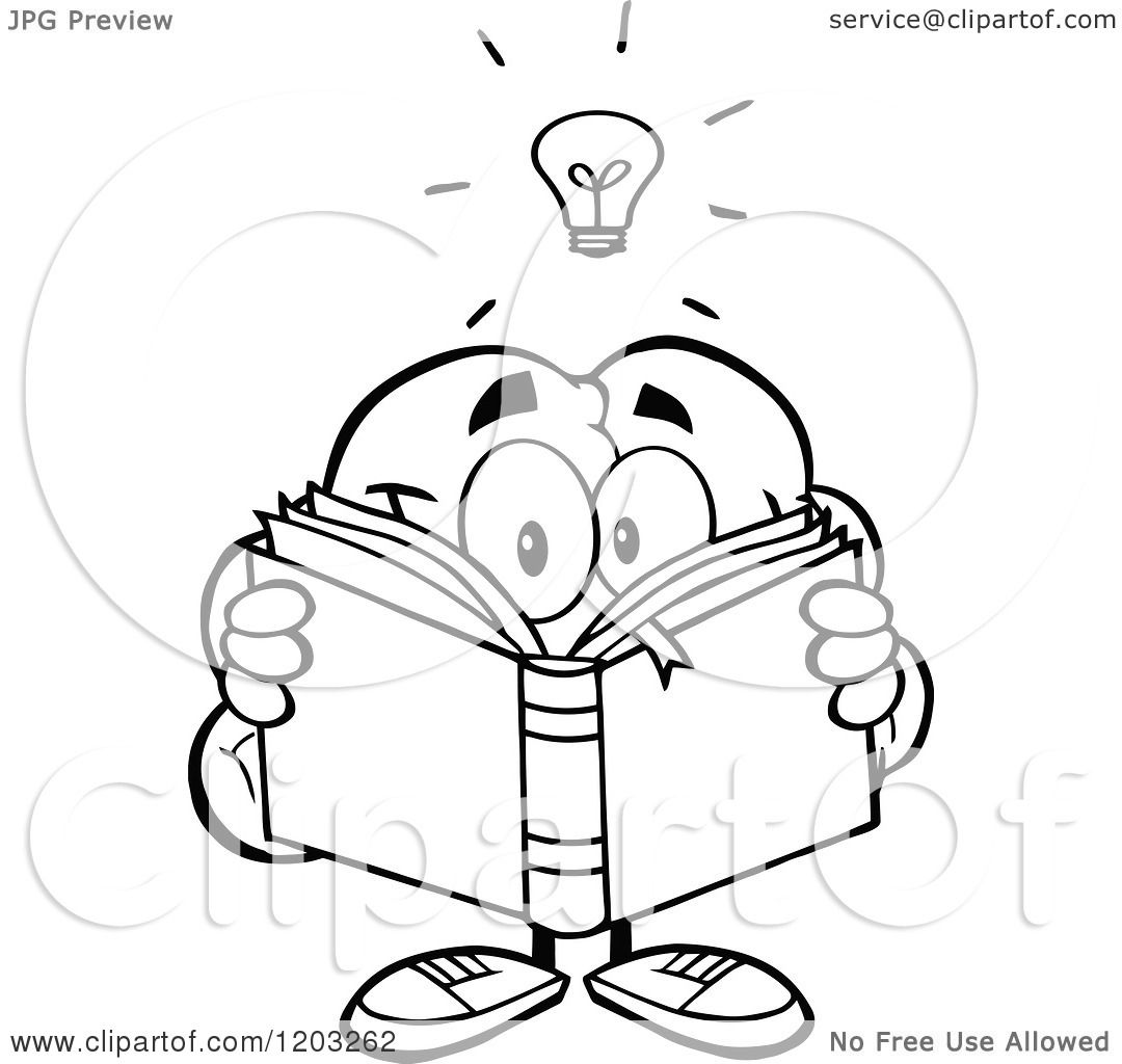Cartoon Of A Black And White Brain Mascot With A Light
