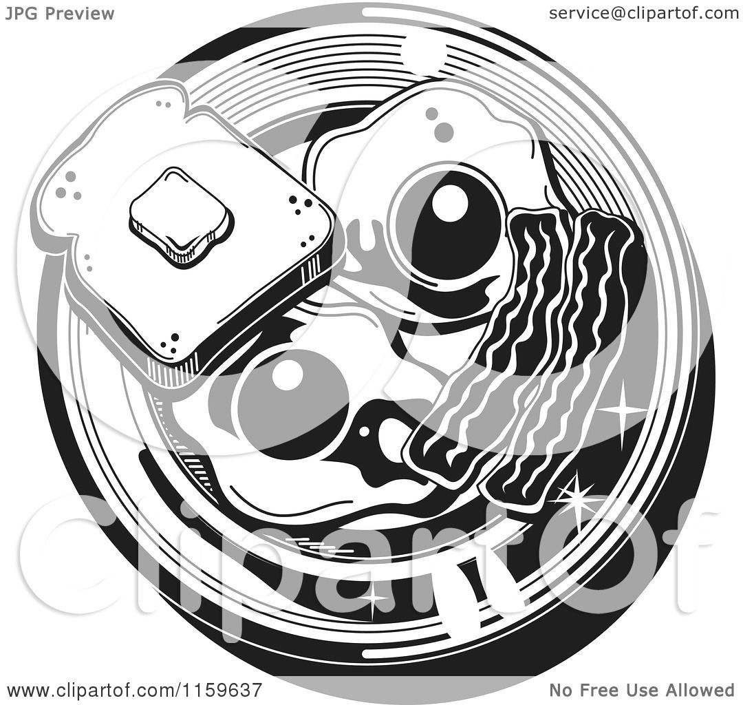 Cartoon of a Black and White Breafast Plate with Toast ...