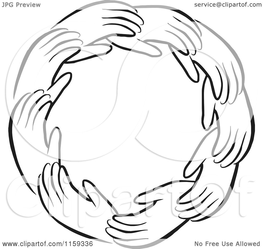 Royalty Free Clipart Illustration Of A Black And White Circle Hands