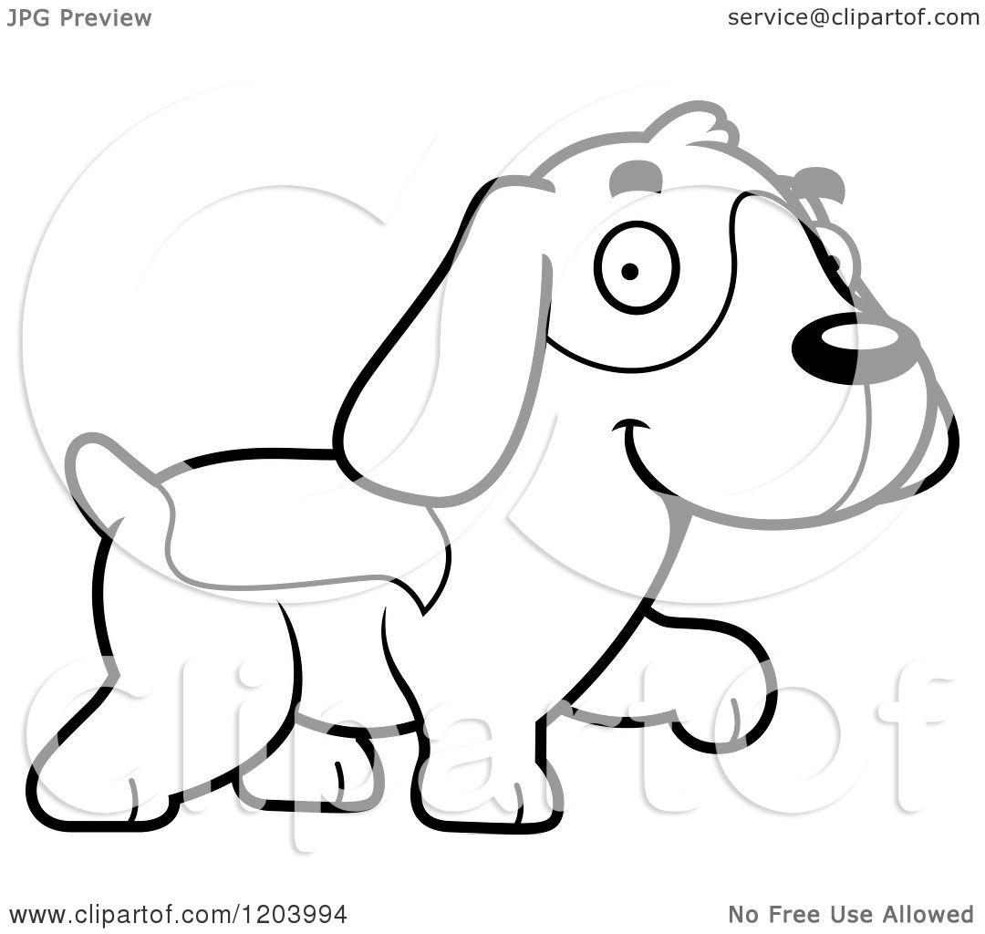 Cartoon Of A Black And White Cute Beagle Puppy Walking