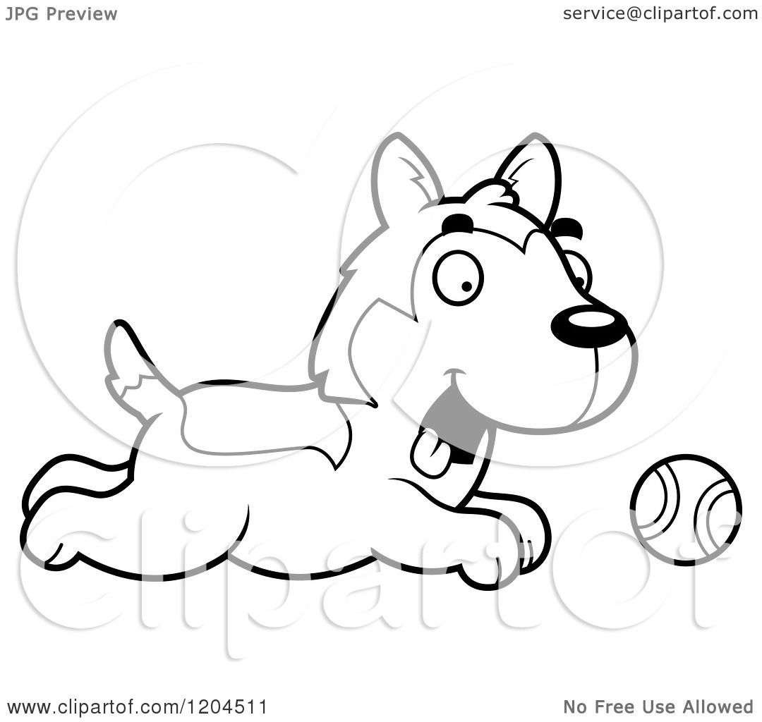 cartoon of a black and white cute husky puppy dog chasing a ball royalty free vector clipart by cory thoman puppy coloring sheets - Cute Husky Puppies Coloring Pages
