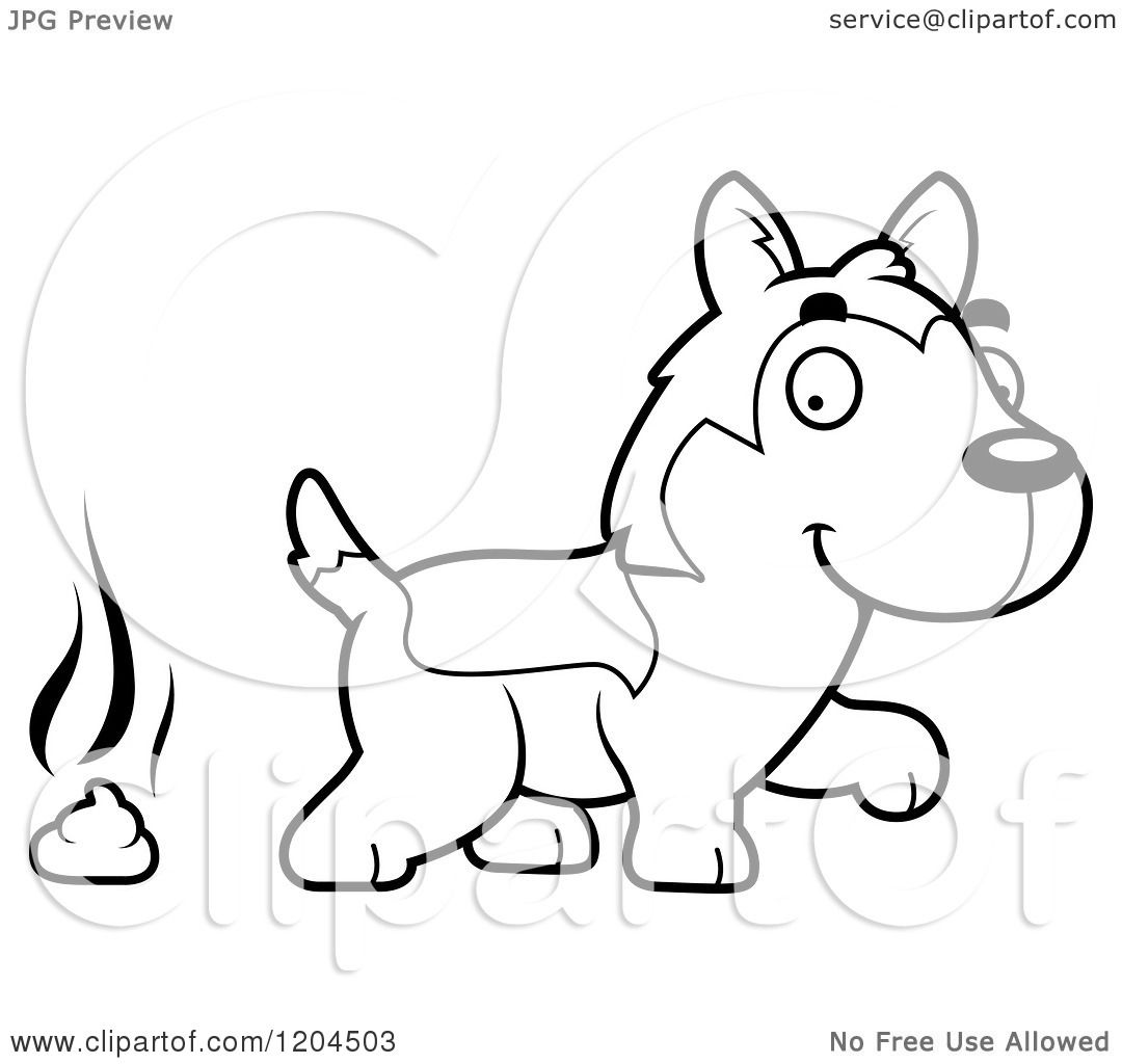 cute husky coloring pages - cartoon of a black and white cute husky puppy dog pooping