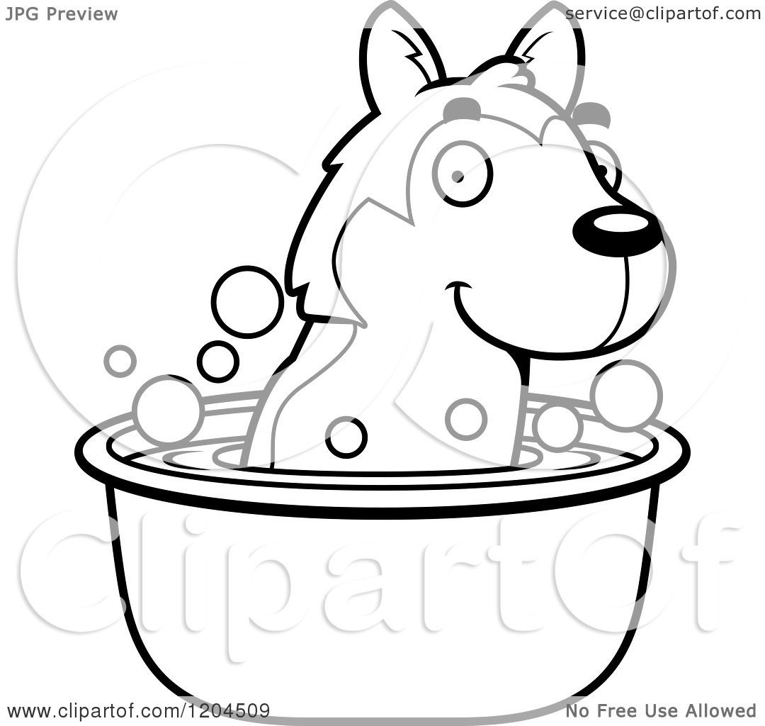 cartoon of a black and white cute husky puppy dog taking a bath royalty free vector clipart by cory thoman printable puppy coloring pages - Cute Husky Puppies Coloring Pages