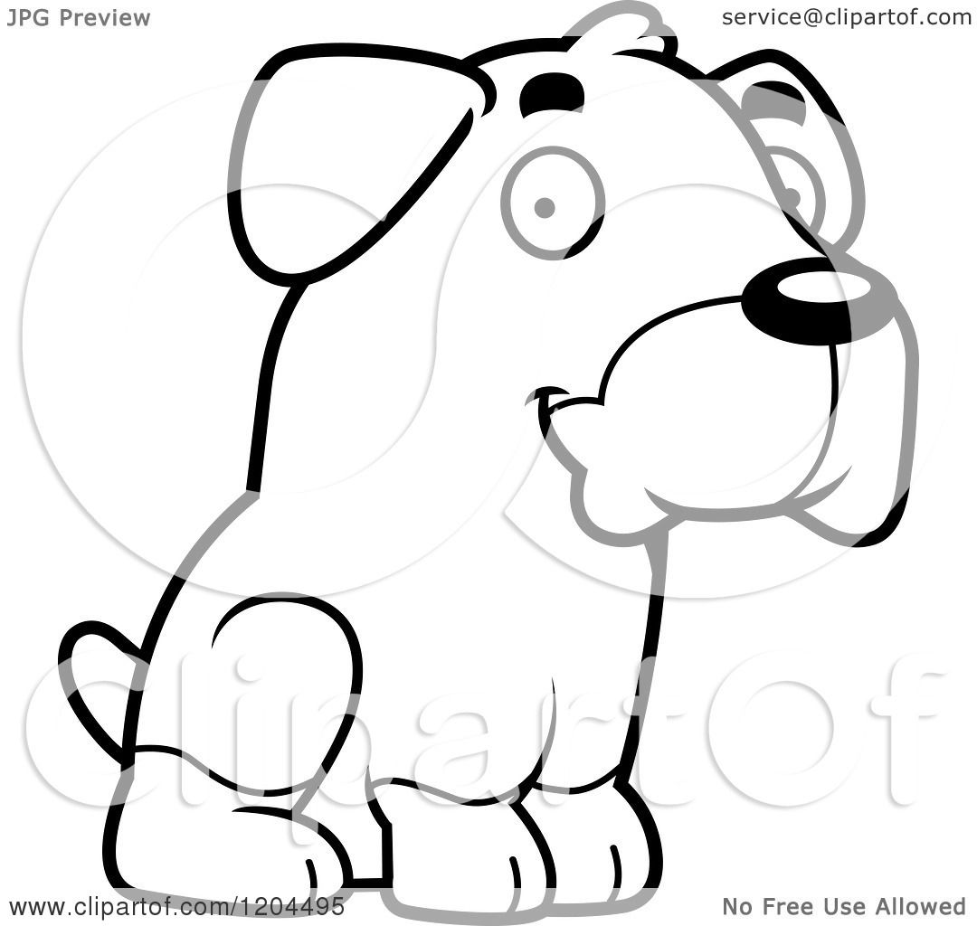 Cartoon of a Black And White Cute Rottweiler Puppy Dog ...