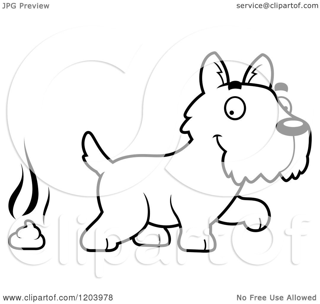 Cartoon of a Black And White Cute Scottish Terrier Puppy and a ...