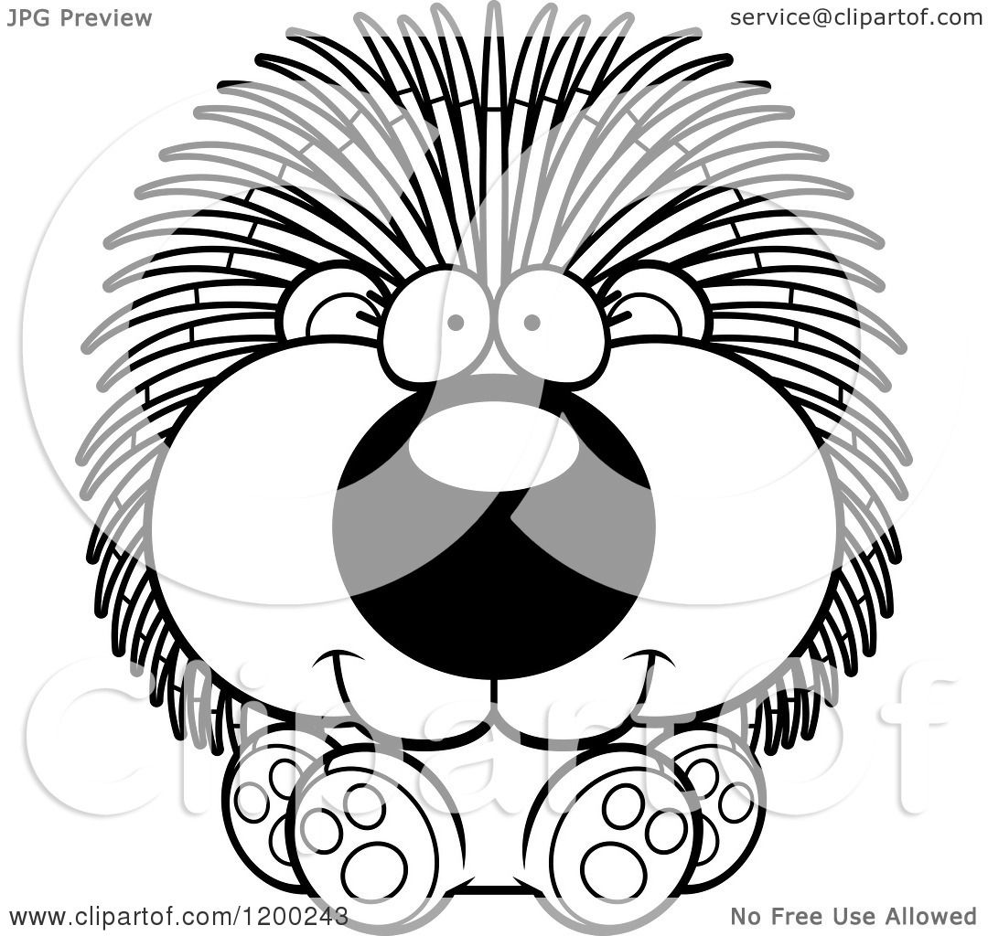 porcupine images cartoon cartoon of a black and white cute sitting porcupine 1182