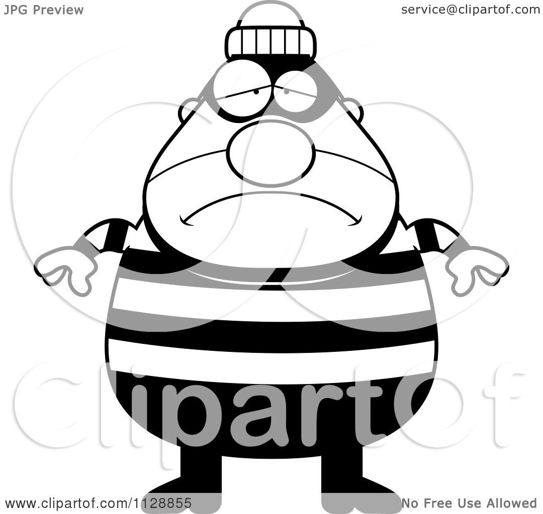 Cartoon Of A Black And White Depressed Chubby Burglar Or