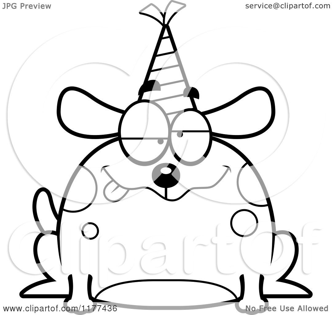 Cartoon Of A Black And White Drunk Birthday Dog Wearing A Party Hat Royalty Free Vector Clipart By Cory Thoman 1177436