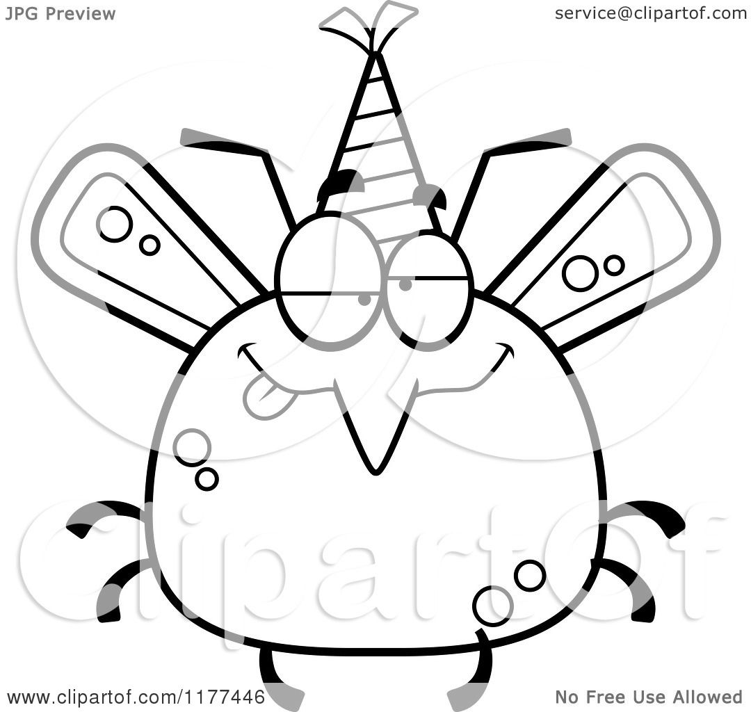 cartoon of a black and white drunk birthday mosquito wearing a